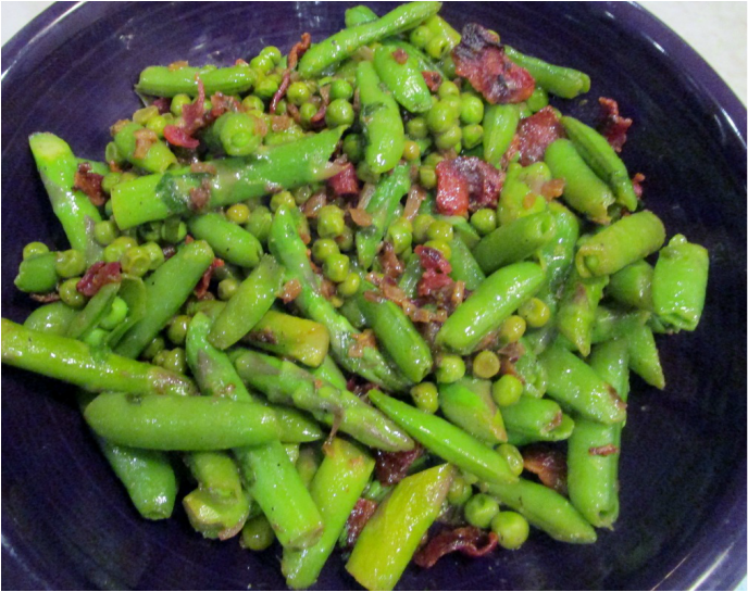 Asparagus and Peas with Warm Bacon Vinaigrette