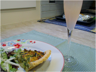 Quiche, Salad & Champagne Cocktail