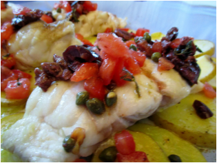 Baked Grouper with Tomato-Olive Sauce