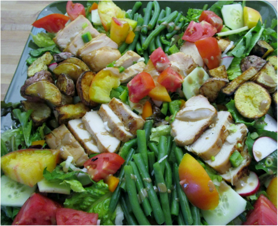 Farmers Market Salad with Grilled Chicken Breasts