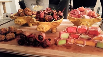Sausage balls; Bacon wrapped dates; Prosciutto wrapped melon