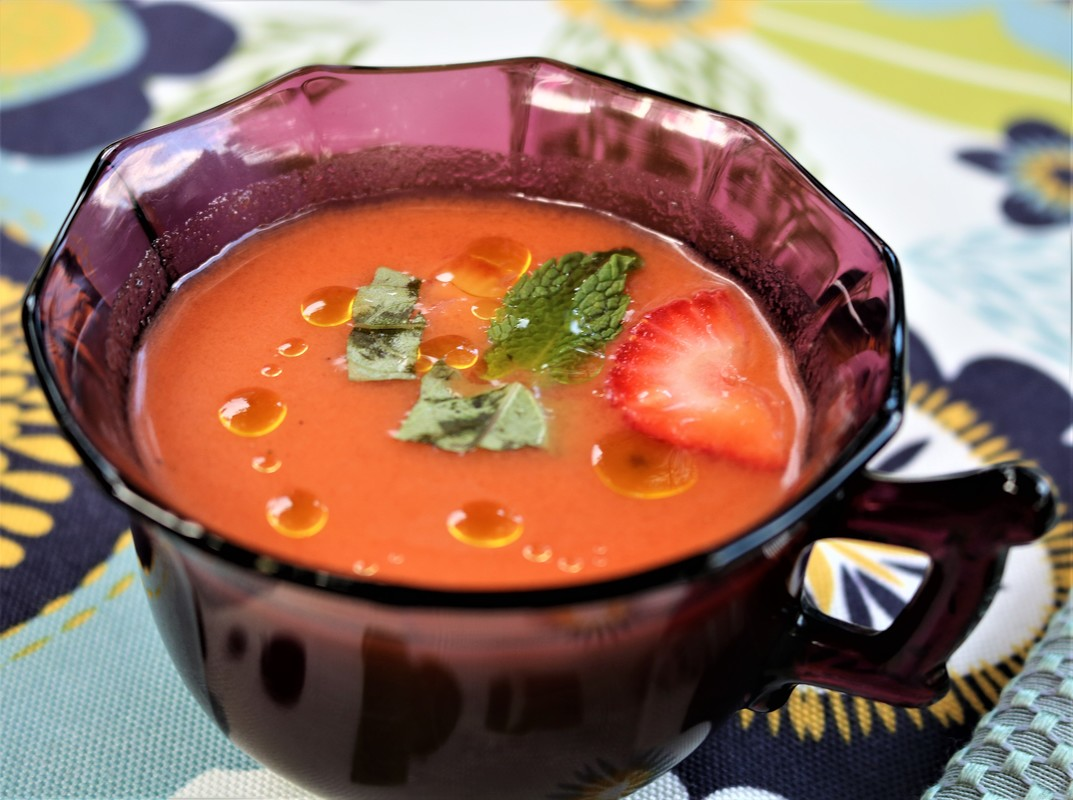 Watermelon-Strawberry Gazpacho served in vintage cups