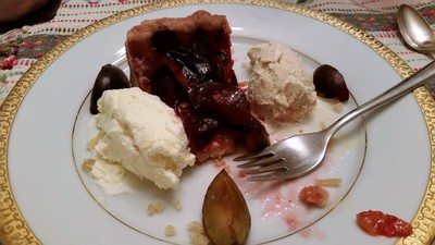 Plum Cake with Black Pepper and Candied Ginger Ice Creams