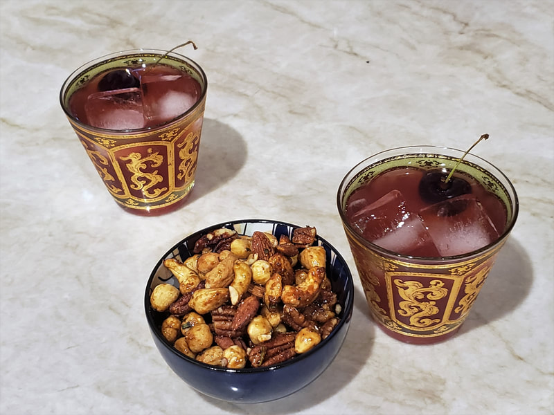 Tart Cherry Gimlets with Chipotle Rosemary Spiced Nuts