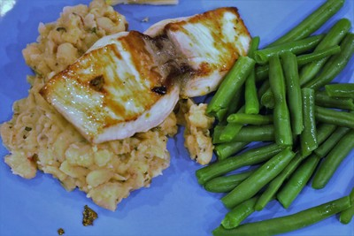 Mahi-Mahi with Smashed White Beans and Sage - Enjoy!