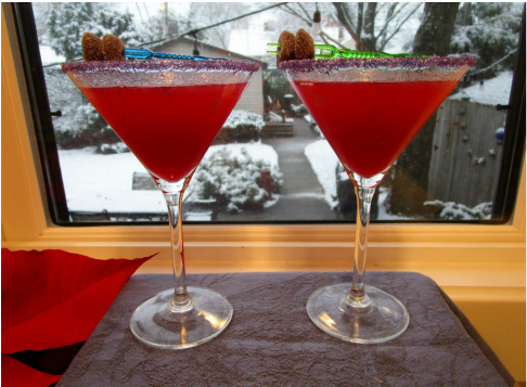 Pair of Sugar Plum Cocktails on a Snowy Day