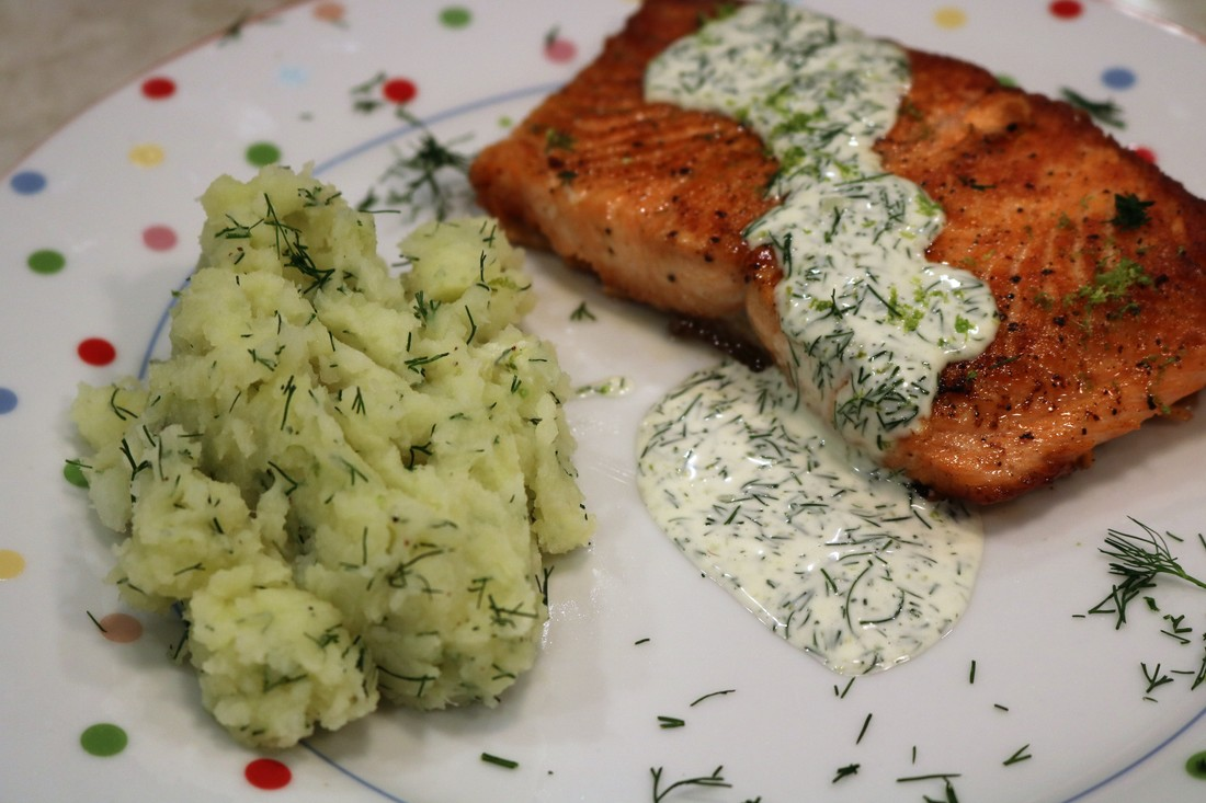 Pan-seared Fjord Trout with Creamy Lime-Dill Sauce