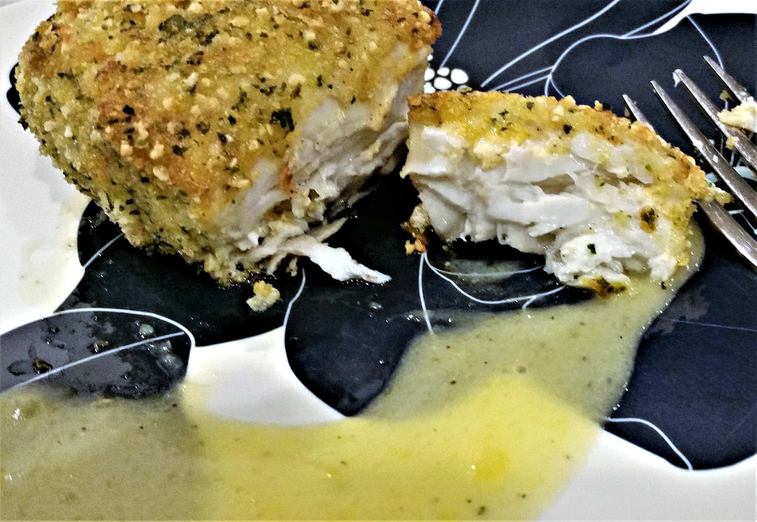 Cashew Crusted Wahoo Fillets with Mango Lime Butter Sauce