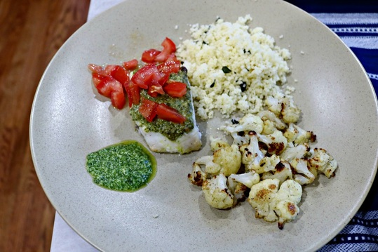 Baked Corvina with Pesto and Tomatoes