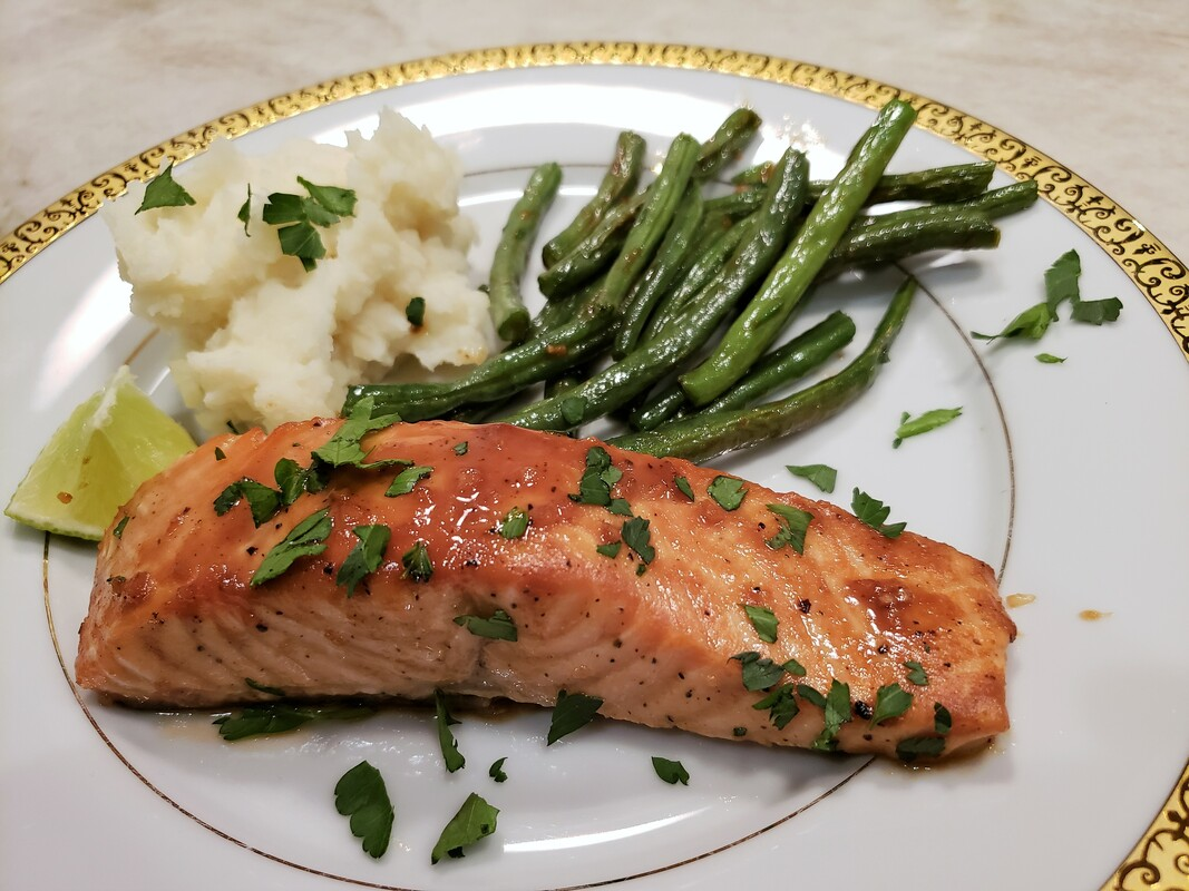 Maple-Miso Glazed Salmon with Green Beans