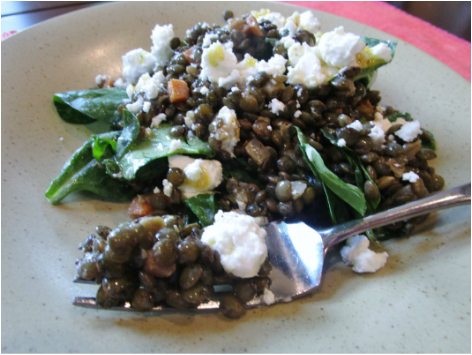 Lentil, Goat Cheese & Spinach Salad