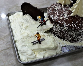 Chocolate Layer Cake in a Ski-Scape