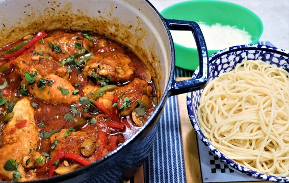 Chicken Cacciatore, Spaghetti, and Parmesan Cheese
