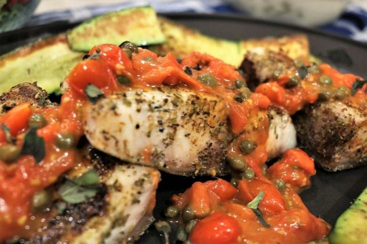 Sauteed Cobia with Tomatoes and Capers