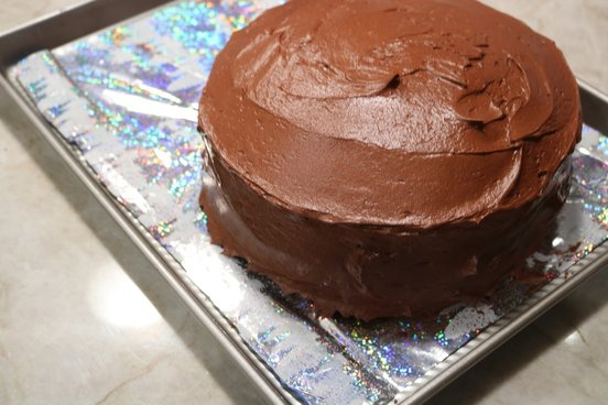 Chocolate Layer Cake with White Chocolate Mousse Filling and Chocolate Fudge Frosting