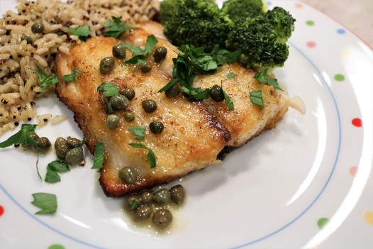 Pan-Seared Meagre with Lemon-Caper Sauce