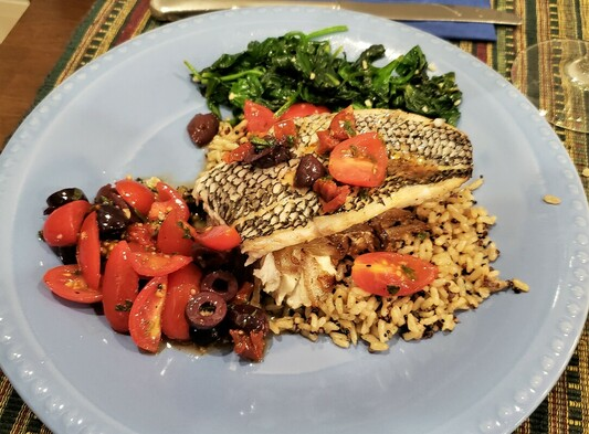 Roasted Black Sea Bass with Tomato Olive Salad