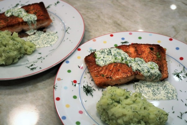 Pan-seared Fjord Trout with Crushed Potatoes and Creamy Lime-Dill Sauce