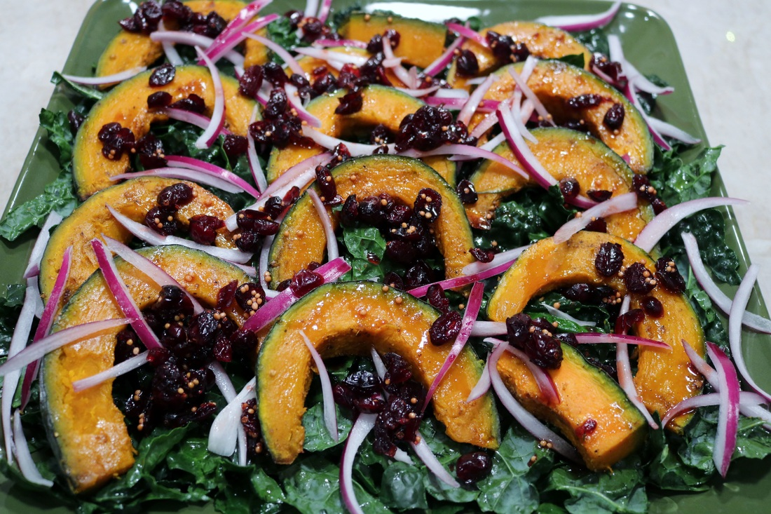 Roasted Squash and Kale Salad with Cranberries