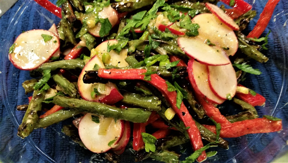 Grilled Green Beans with Red Peppers and Radishes