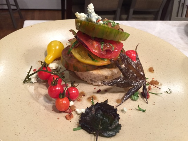 Heirloom Tomato Stack with Sauteed Birch and Japanese Maple Leaves